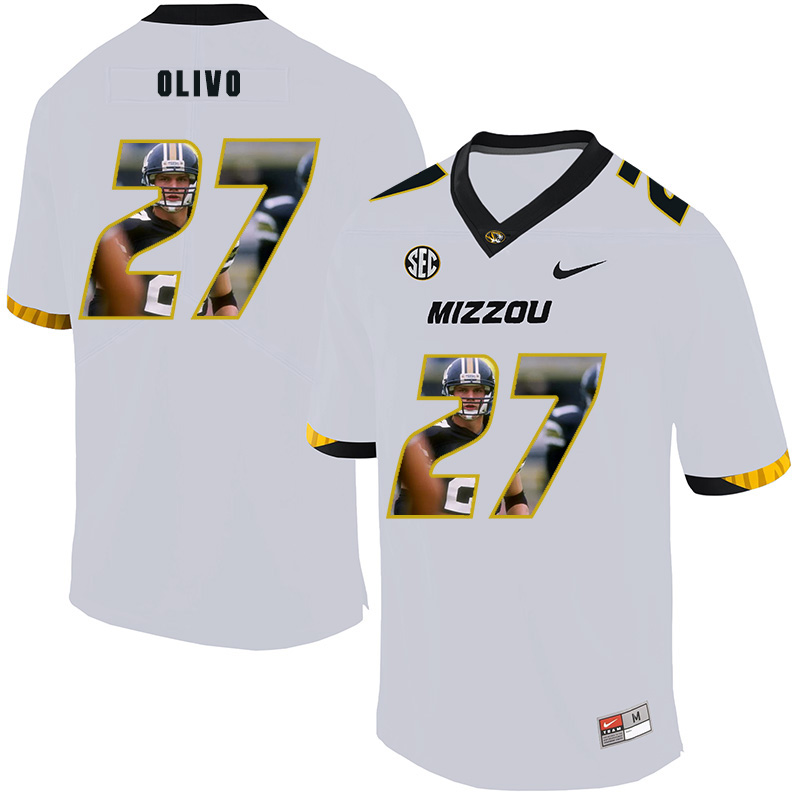 Missouri Tigers 27 Brock Olivo White Nike Fashion College Football Jersey