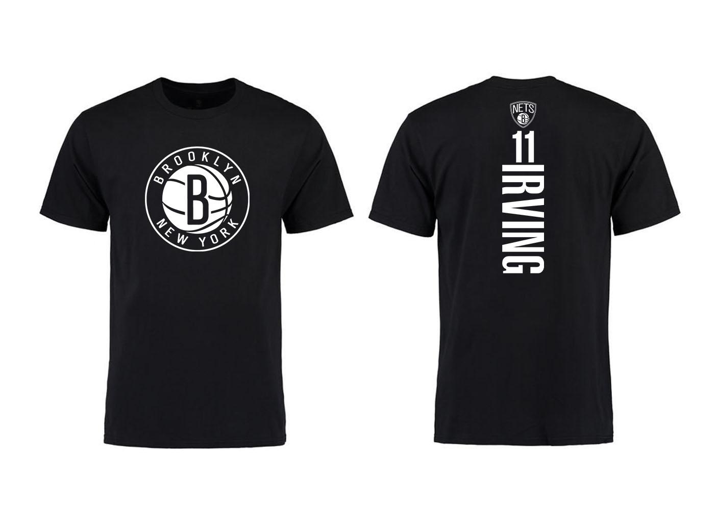 Brooklyn Nets 11 Kyrie Irving Black T-Shirts
