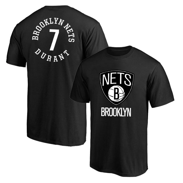 Brooklyn Nets 7 Kevin Durant Black T-Shirt