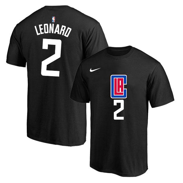 Los Angeles Clippers 2 Kawhi Leonard Black Nike T-Shirt