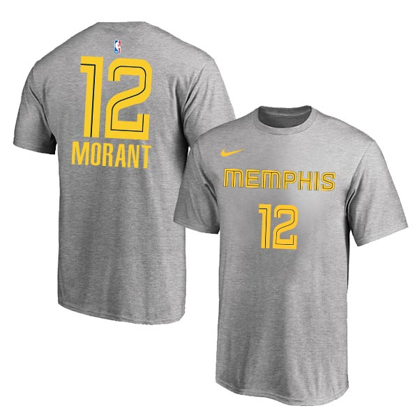 Memphis Grizzlies 12 Ja Morant Gray City Edition Nike T-Shirt