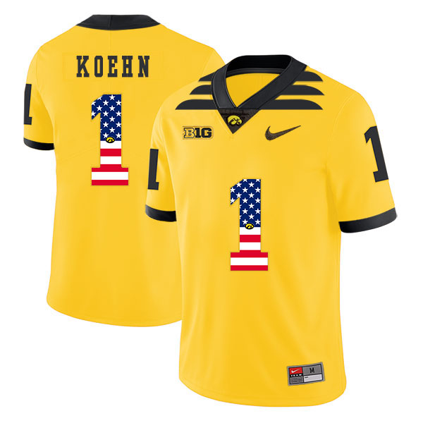 Iowa Hawkeyes 1 Marshall Koehn Pasat Yellow USA Flag College Football Jersey