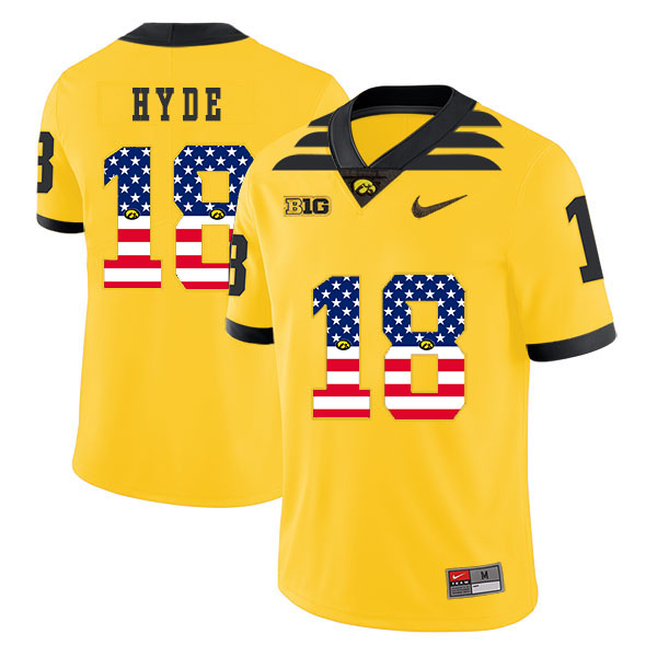 Iowa Hawkeyes 18 Micah Hyde Yellow USA Flag College Football Jersey