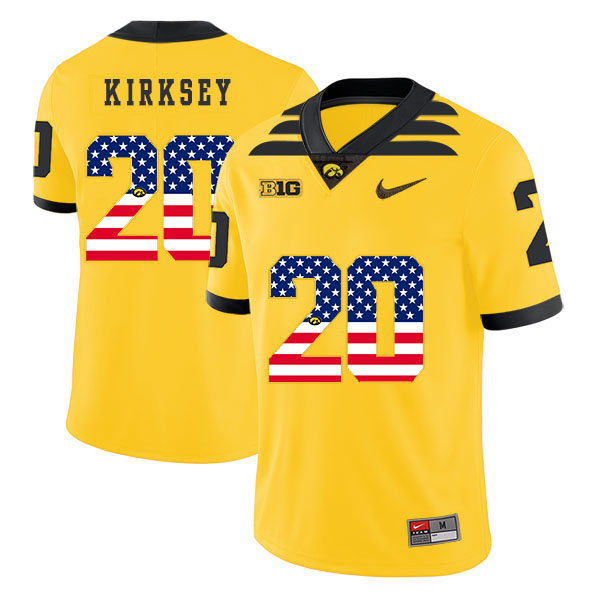 Iowa Hawkeyes 20 Christian Kirksey Yellow USA Flag College Football Jersey