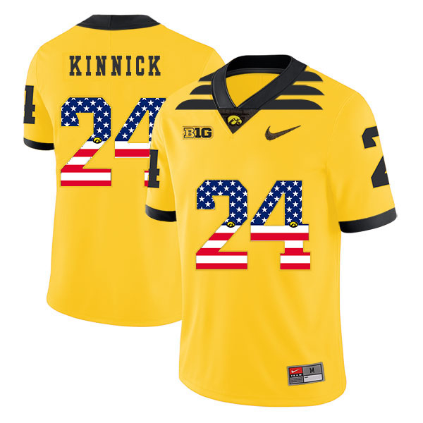 Iowa Hawkeyes 24 Nile Kinnick Yellow USA Flag College Football Jersey