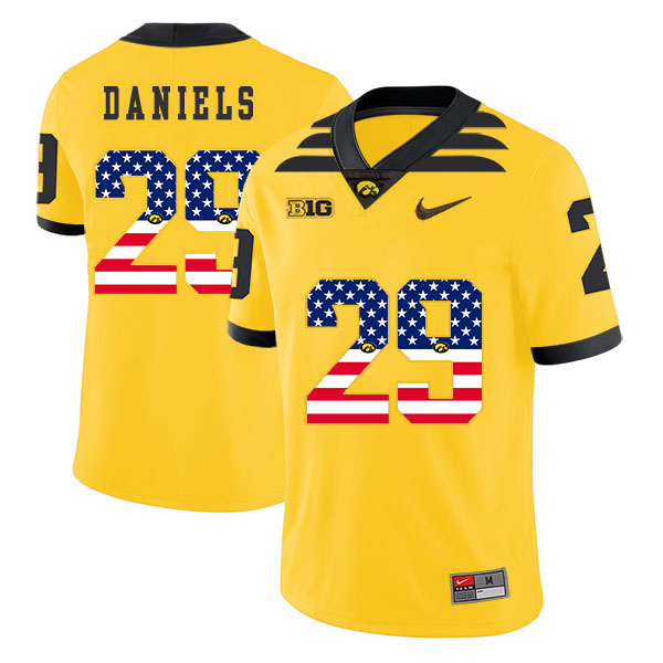 Iowa Hawkeyes 29 LeShun Daniels Yellow USA Flag College Football Jersey