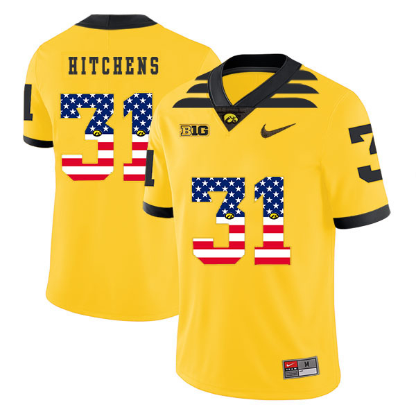 Iowa Hawkeyes 31 Anthony Hitchens Yellow USA Flag College Football Jersey