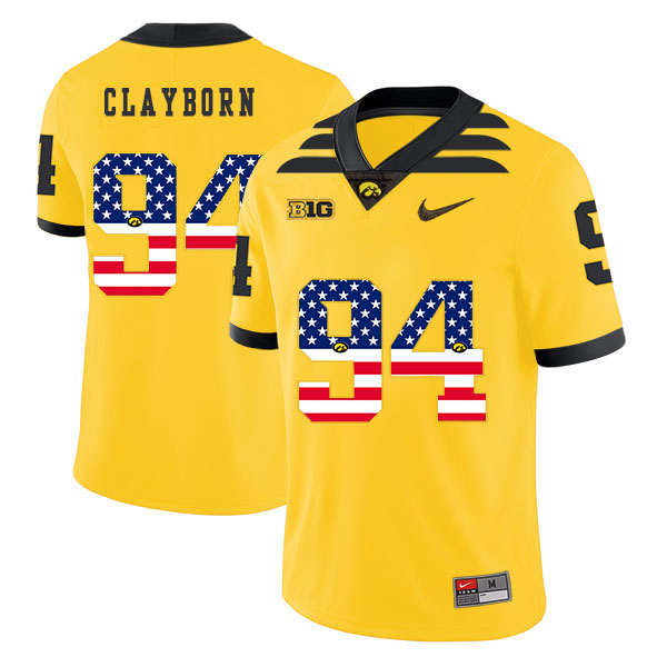 Iowa Hawkeyes 94 Adrian Clayborn Yellow USA Flag College Football Jersey