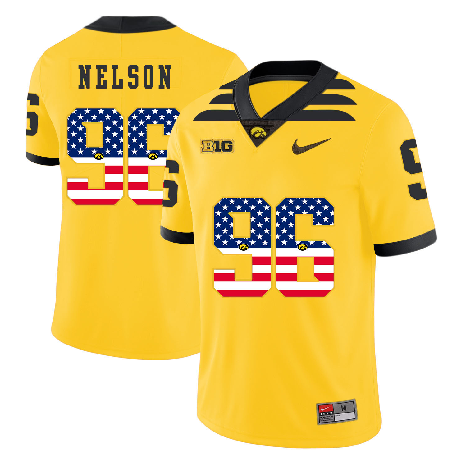 Iowa Hawkeyes 96 Matt Nelson Pasat Yellow USA Flag College Football Jersey