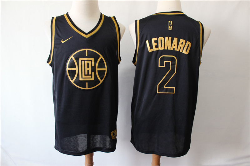Clippers 2 Kawhi Leonard Black Nike Gold Swingman Jersey