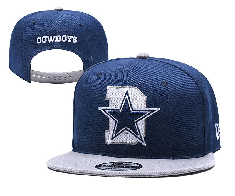 Cowboys Team Logo Navy Gray Adjustable Hat YD