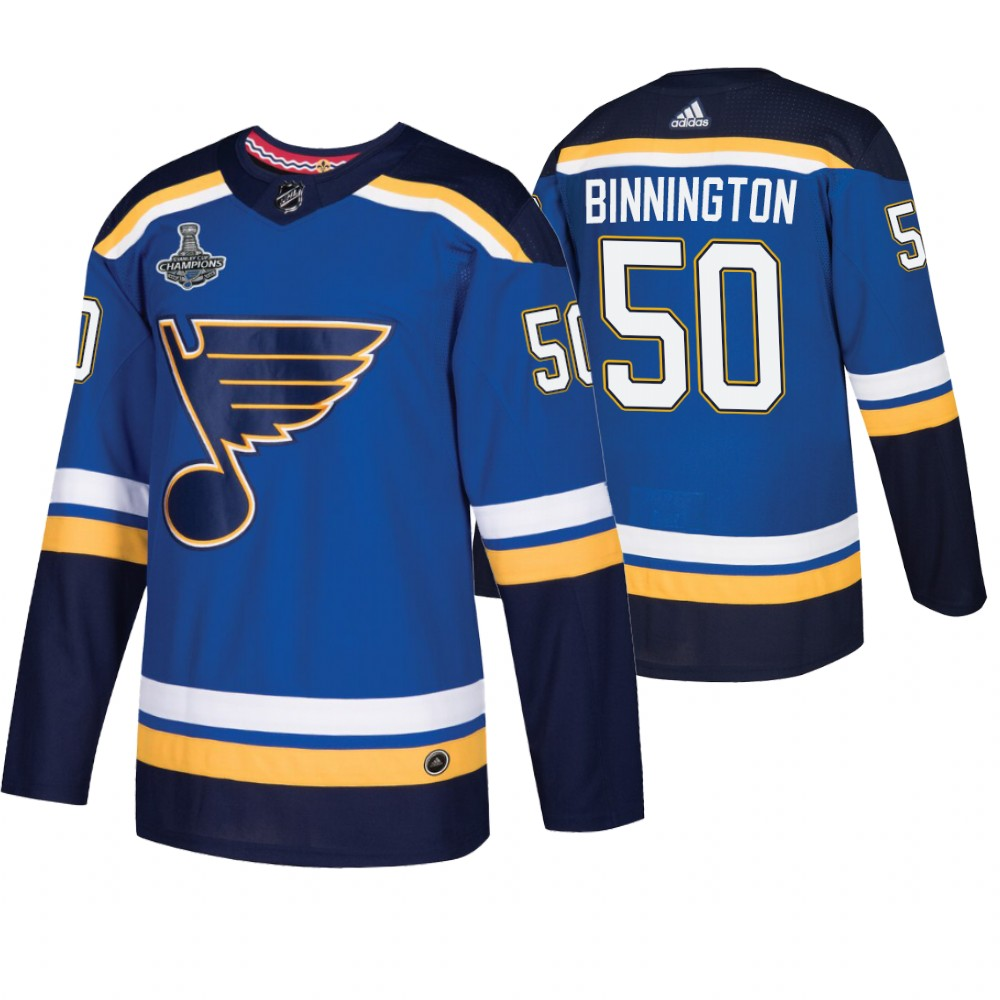 Blues 50 Jordan Binnington Blue 2019 Stanley Cup Champions Adidas Jersey