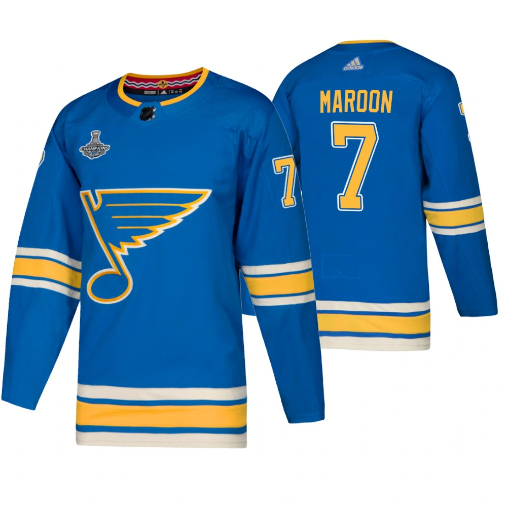 Blues 7 Pat Maroon Blue Alternate 2019 Stanley Cup Champions Adidas Jersey