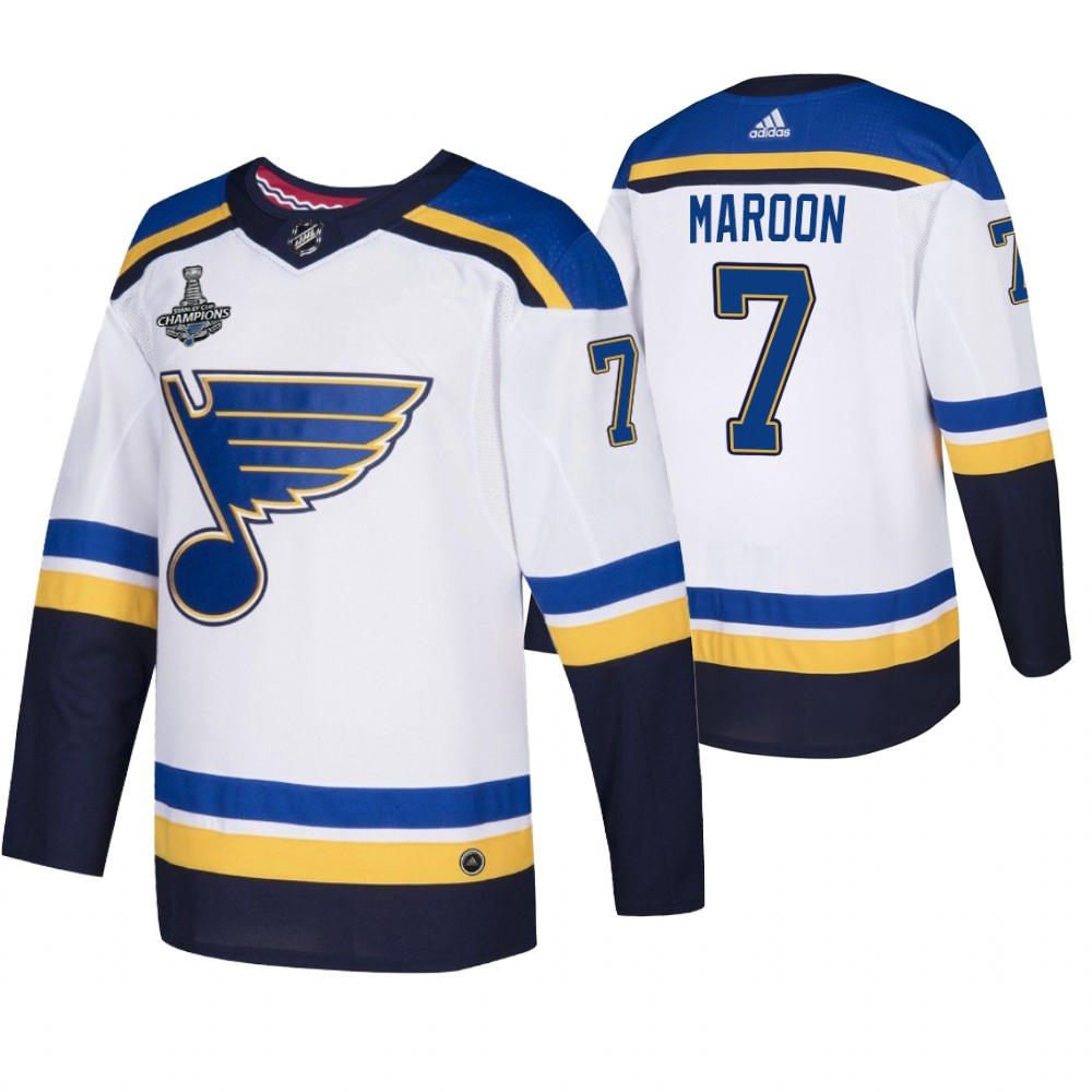 Blues 7 Pat Maroon White 2019 Stanley Cup Champions Adidas Jersey
