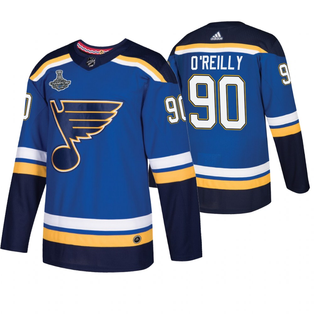 Blues 90 Ryan O'Reilly Blue 2019 Stanley Cup Champions Adidas Jersey