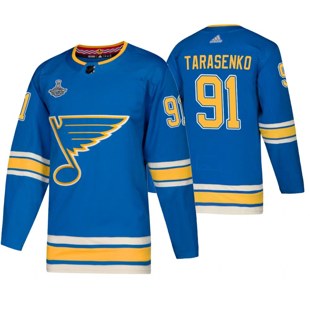 Blues 91 Vladimir Tarasenko Blue Alternate 2019 Stanley Cup Champions Adidas Jersey