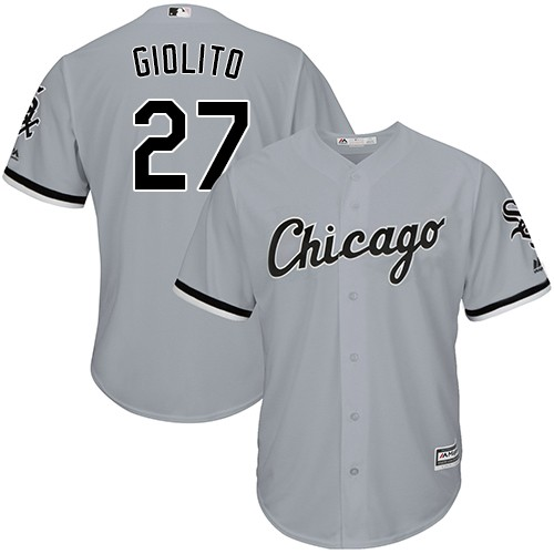 White Sox 27 Lucas Giolito Gray Cool Base Jersey
