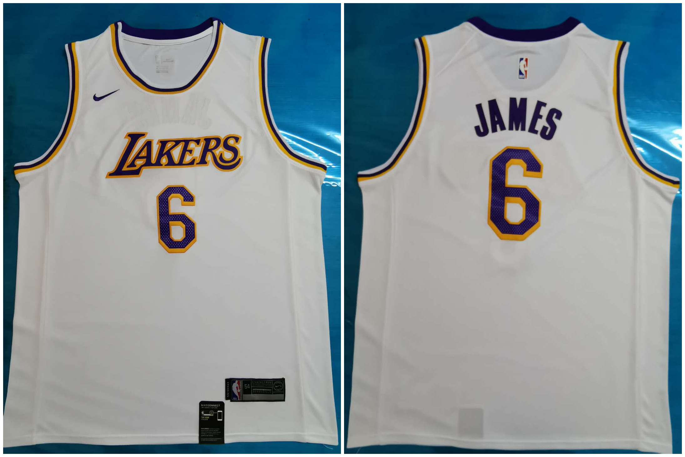 Lakers 6 Lebron James White Nike Swingman Jersey