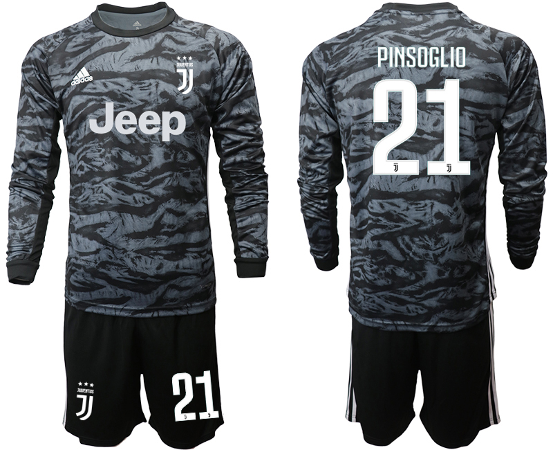 2019-20 Juventus 21 PINSOGLIO Black Long Sleeve Goalkeeper Soccer Jersey