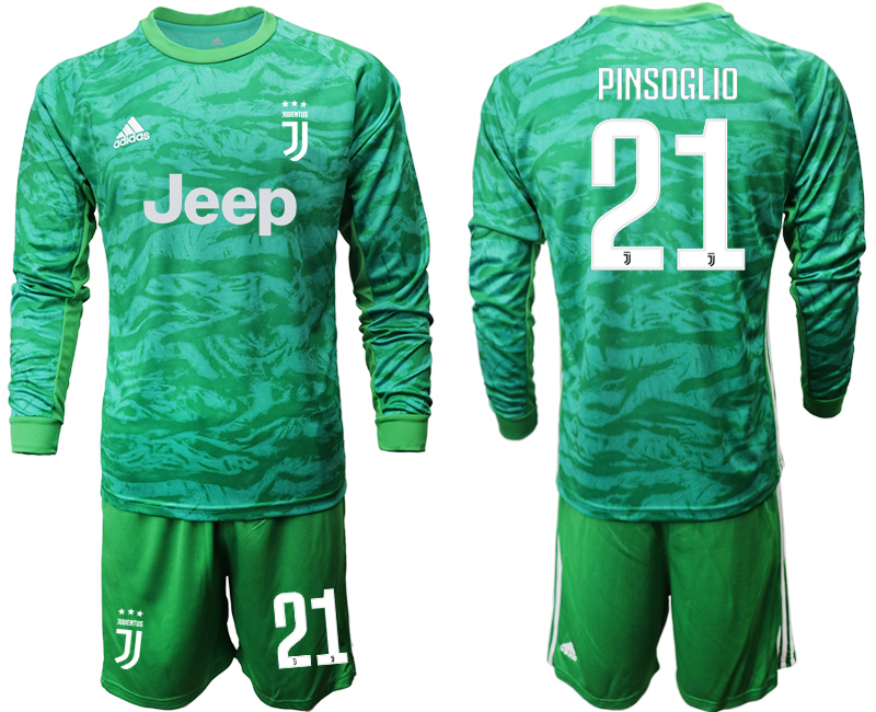 2019-20 Juventus 21 PINSOGLIO Green Long Sleeve Goalkeeper Soccer Jersey