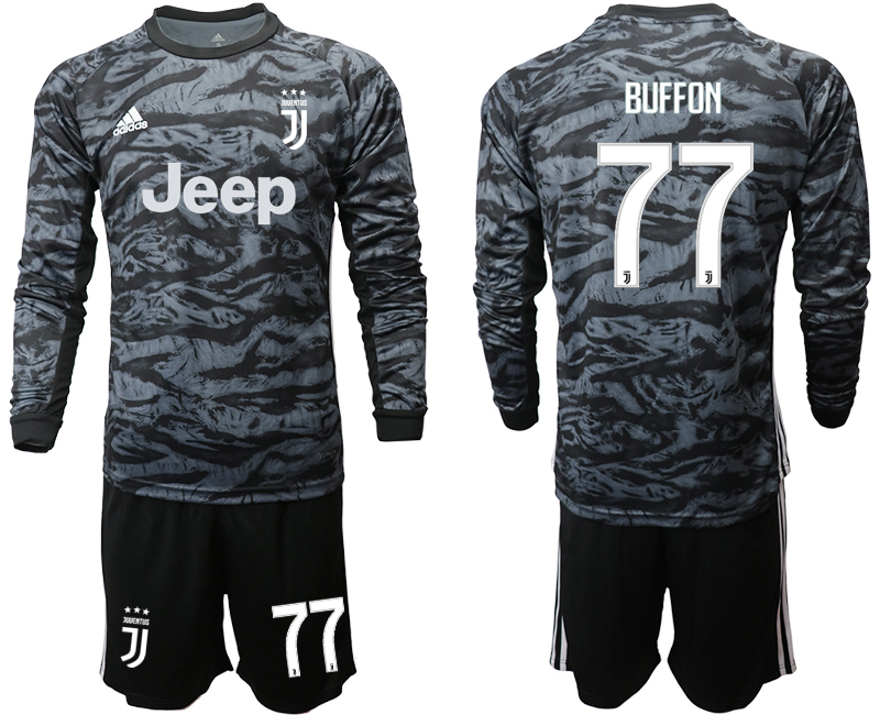 2019-20 Juventus 77 BUFFON Black Long Sleeve Goalkeeper Soccer Jersey