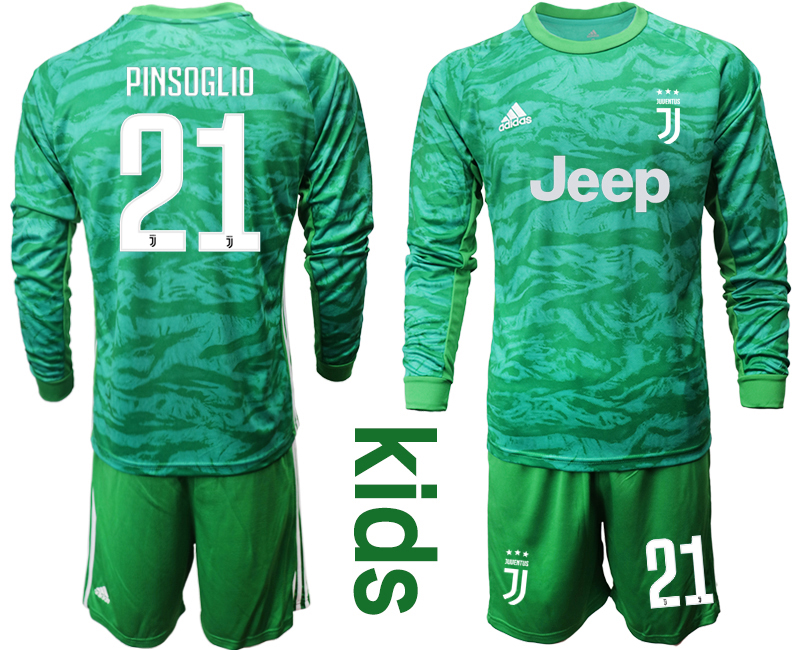 2019-20 Juventus 21 PINSOGLIO Green Long Sleeve Youth Goalkeeper Soccer Jersey