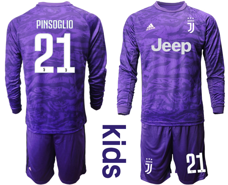 2019-20 Juventus 21 PINSOGLIO Purple Long Sleeve Youth Goalkeeper Soccer Jersey