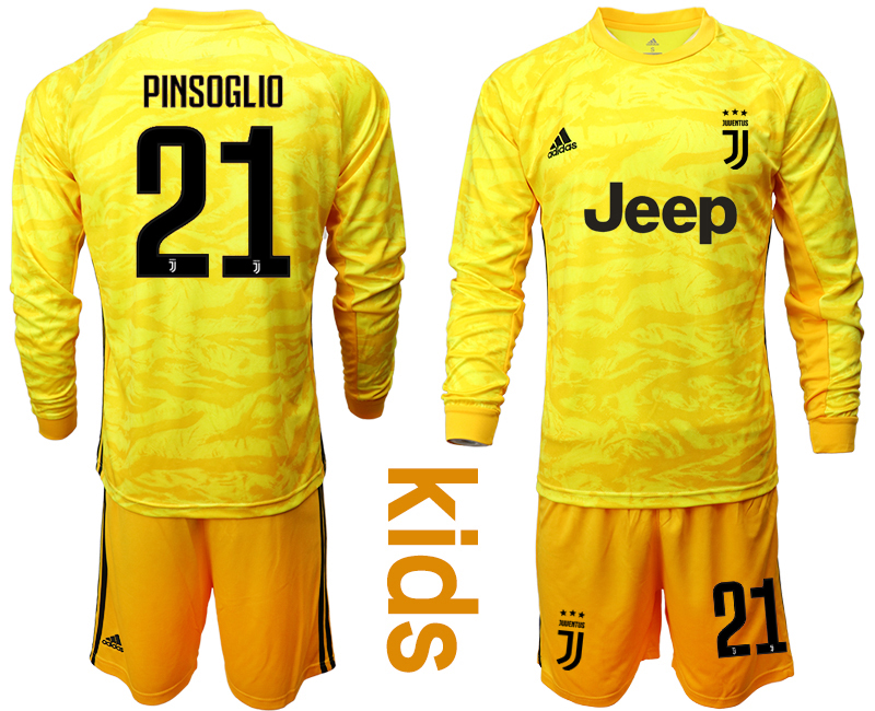 2019-20 Juventus 21 PINSOGLIO Yellow Long Sleeve Youth Goalkeeper Soccer Jersey