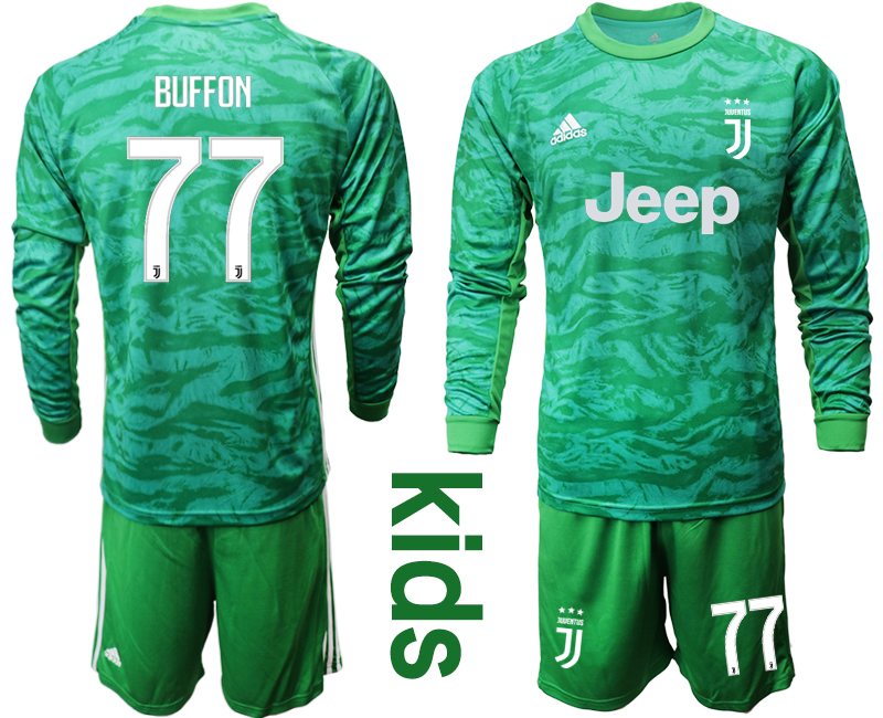 2019-20 Juventus 77 BUFFON Green Long Sleeve Youth Goalkeeper Soccer Jersey