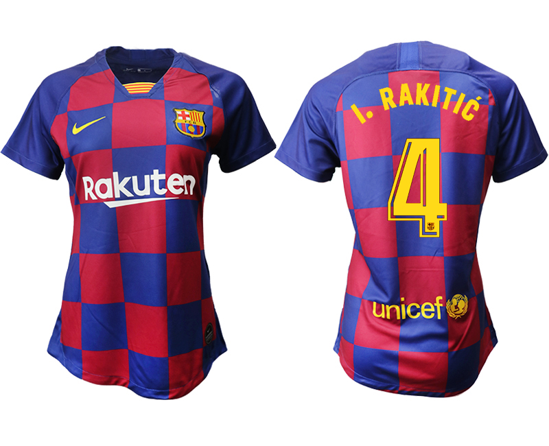 2019-20 Barcelona 4 I. RAKITIC Home Women Soccer Jersey