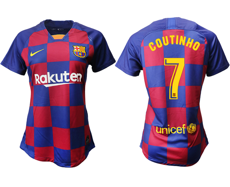 2019-20 Barcelona 7 COUTINHO Home Women Soccer Jersey