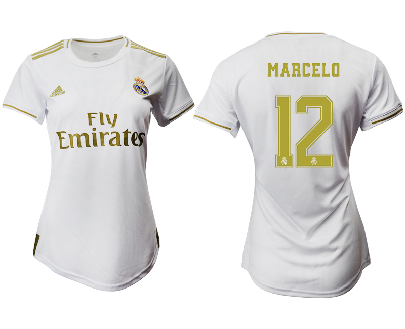 2019-20 Real Madrid 12 MARCELO Home Women Soccer Jersey