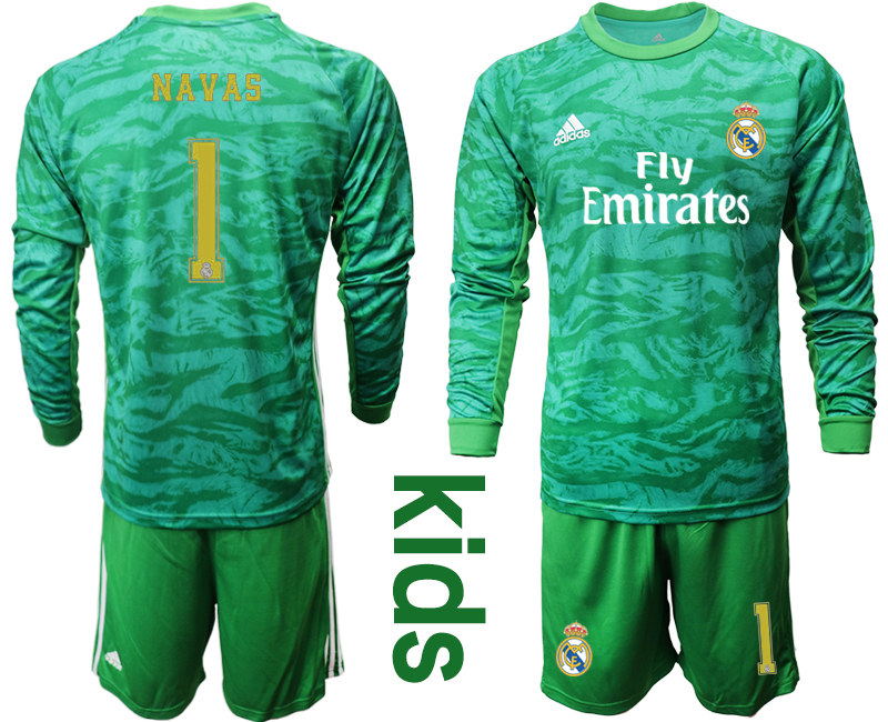 2019-20 Real Madrid 1 NAVAS Green Long Sleeve Youth Goalkeeper Soccer Jersey
