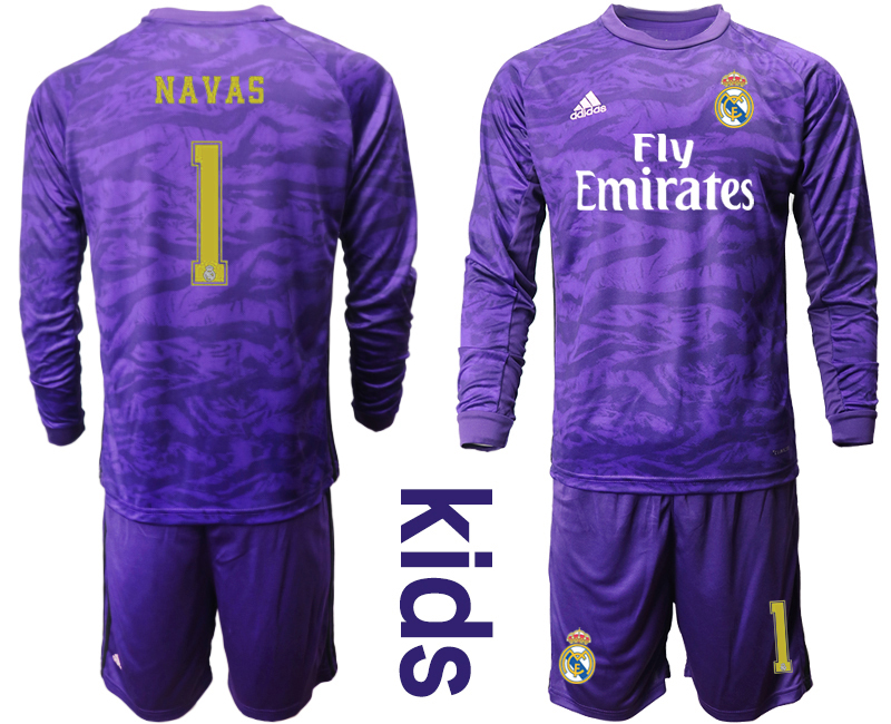 2019-20 Real Madrid 1 NAVAS Purple Long Sleeve Youth Goalkeeper Soccer Jersey