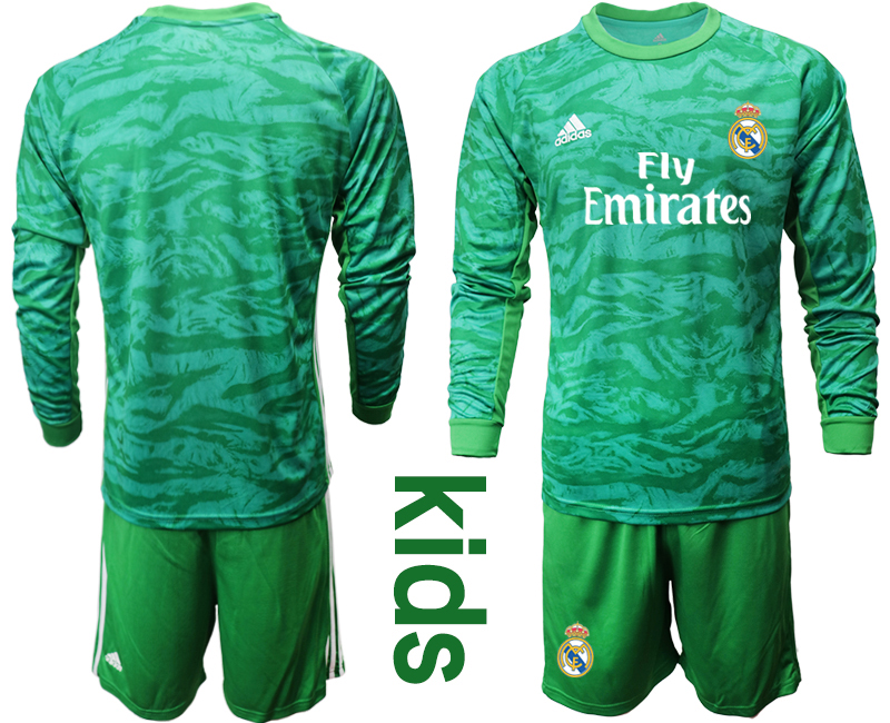 2019-20 Real Madrid Green Long Sleeve Youth Goalkeeper Soccer Jersey