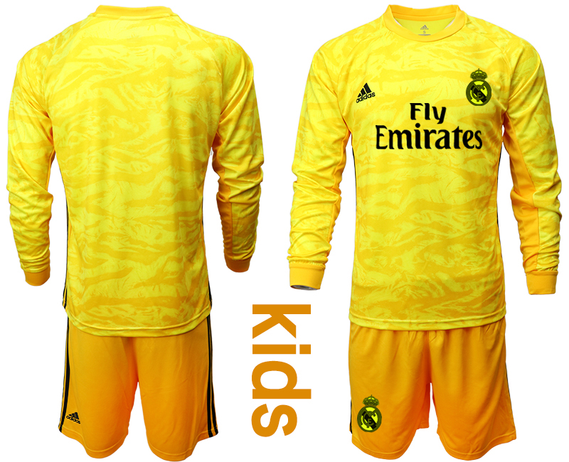2019-20 Real Madrid Yellow Long Sleeve Youth Goalkeeper Soccer Jersey