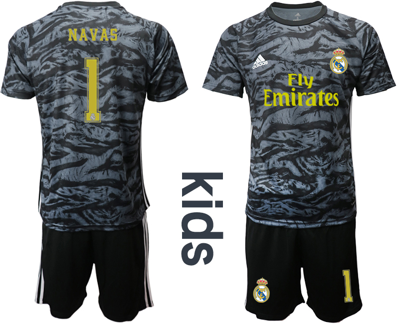 2019-20 Real Madrid 1 NAVAS Black Youth Goalkeeper Soccer Jersey