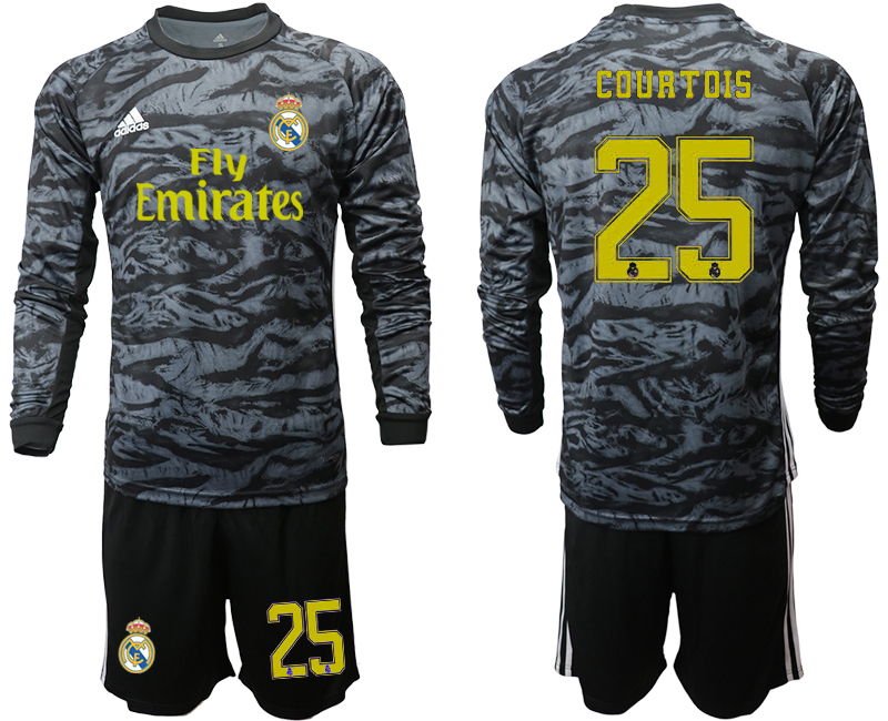 2019-20 Real Madrid 25 COURTOIS Black Long Sleeve Goalkeeper Soccer Jersey