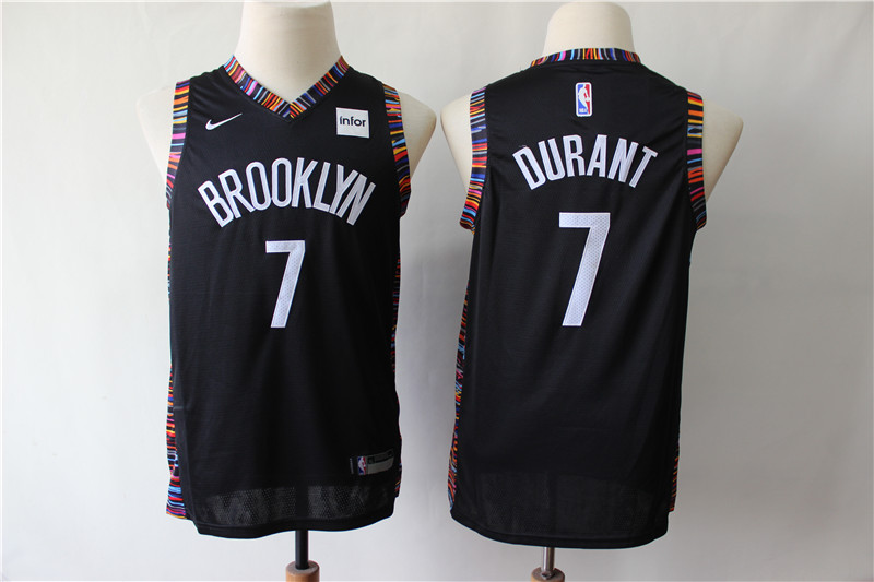 Nets 7 Kevin Durant Black Youth City Edition Nike Swingman Jersey