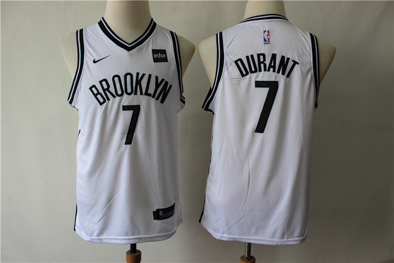 Nets 7 Kevin Durant White Youth Nike Swingman Jersey