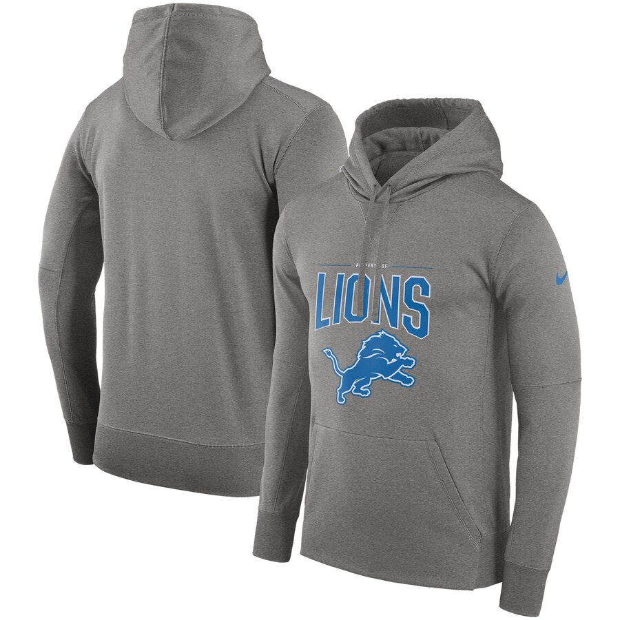 Detroit Lions Nike Sideline Property of Performance Pullover Hoodie Gray