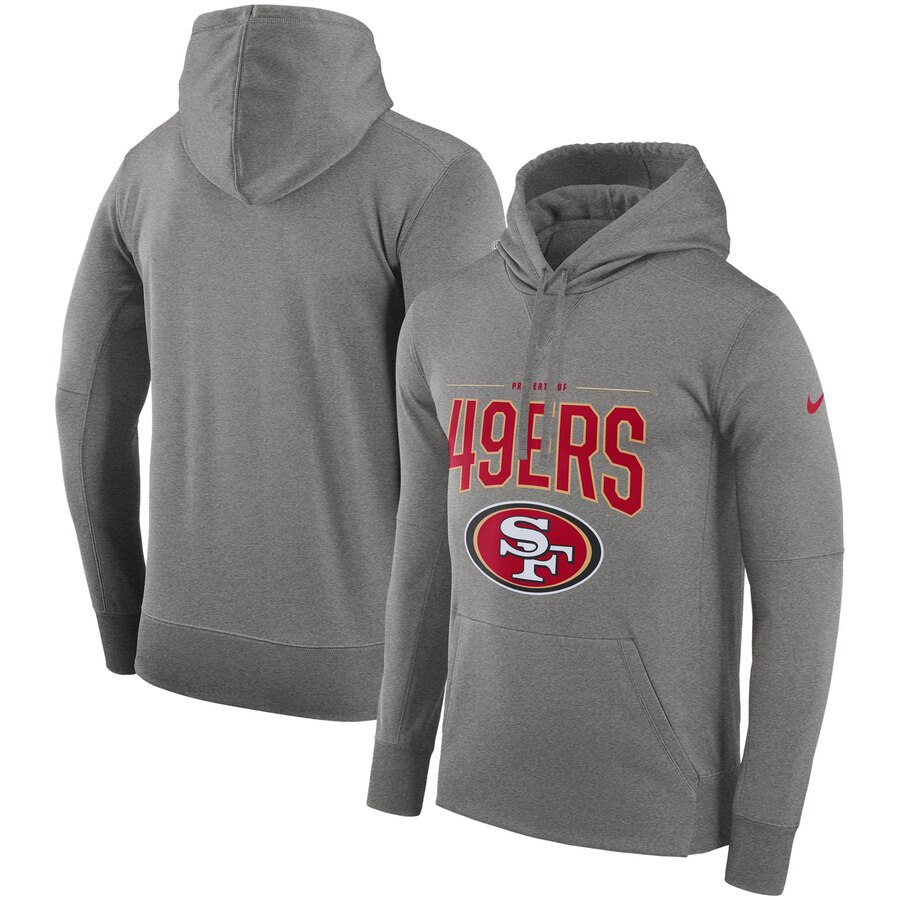 San Francisco 49ers Nike Sideline Property of Performance Pullover Hoodie Gray