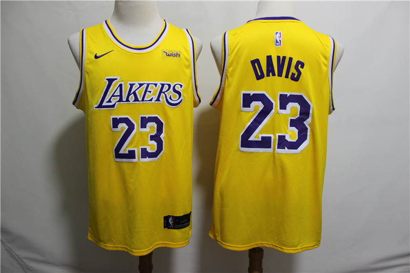 Lakers 23 Anthony Davis Yellow Nike Swingman Jersey