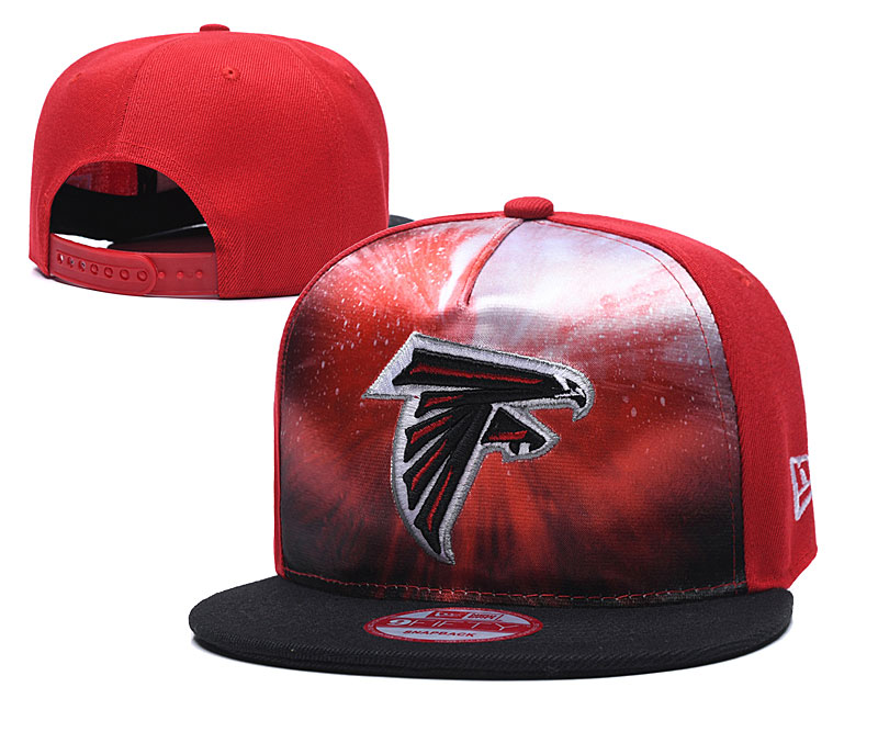 Falcons Team Logo Red Black Adjustable Leather Hat TX