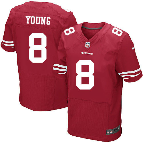 Nike 49ers 8 Steve Young Red Elite Jersey