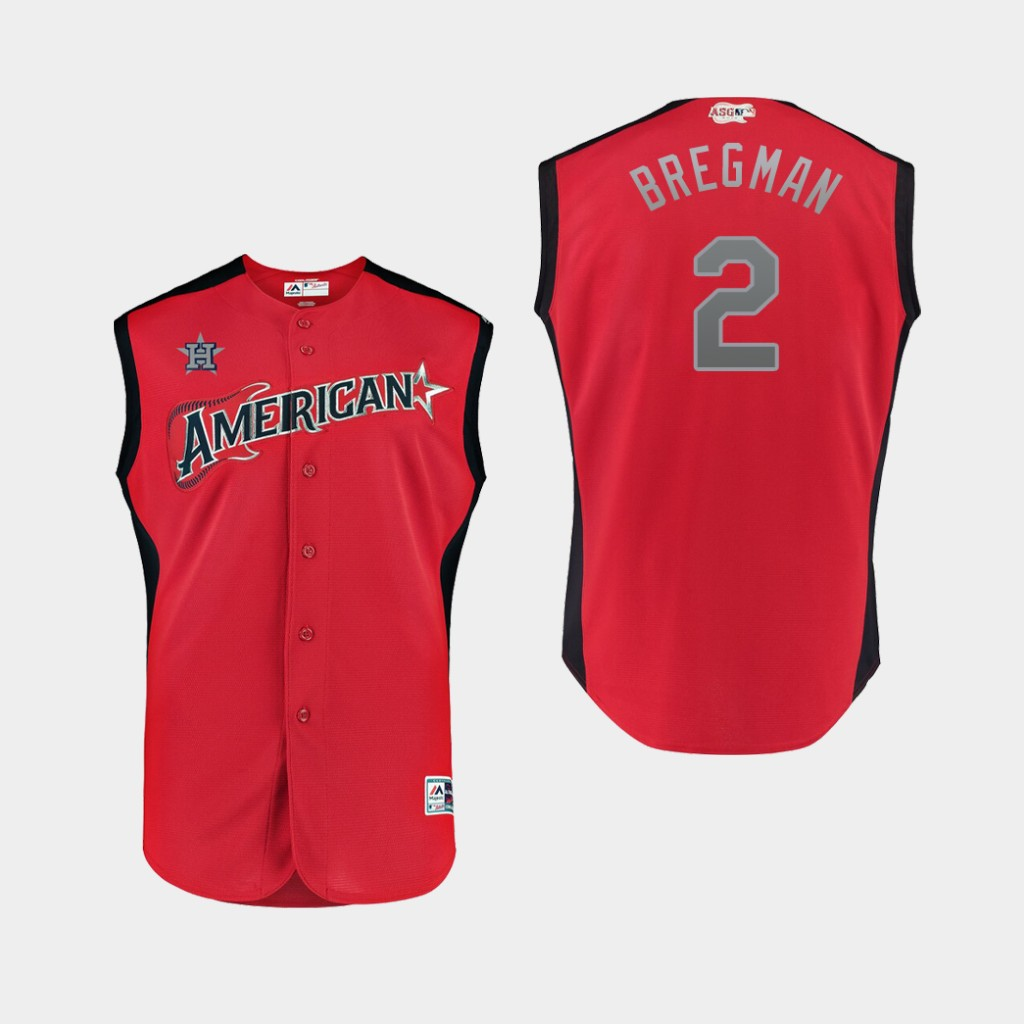 American League 2 Alex Bregman Red Youth 2019 MLB All-Star Game Workout Player Jersey
