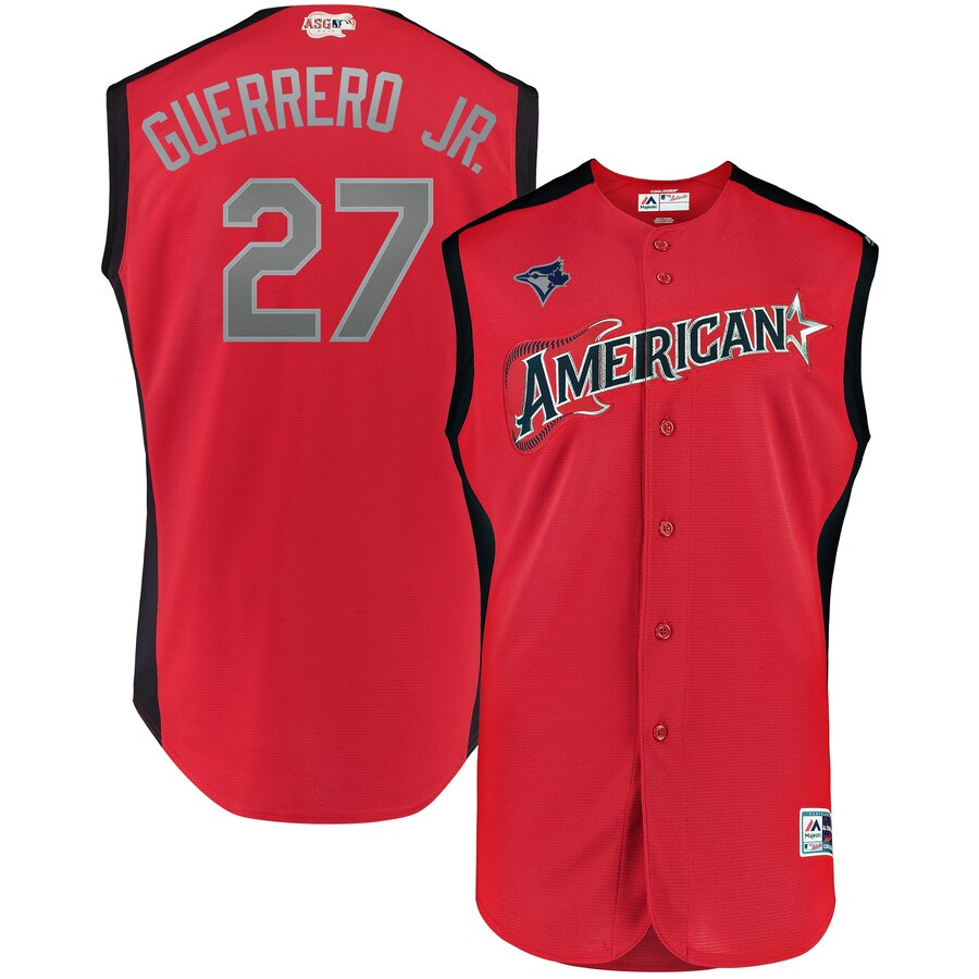 American League 27 Vladimir Guerrero Jr. Red Youth 2019 MLB All-Star Game Workout Player Jersey