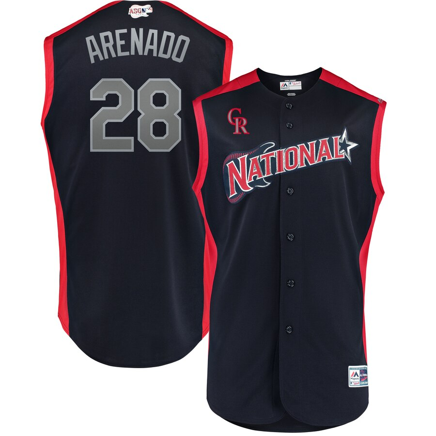 National League 28 Nolan Arenado Navy Youth 2019 MLB All-Star Game Workout Player Jersey