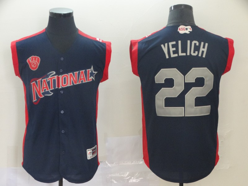 National League 22 Christian Yelich Navy 2019 MLB All-Star Game Player Jersey