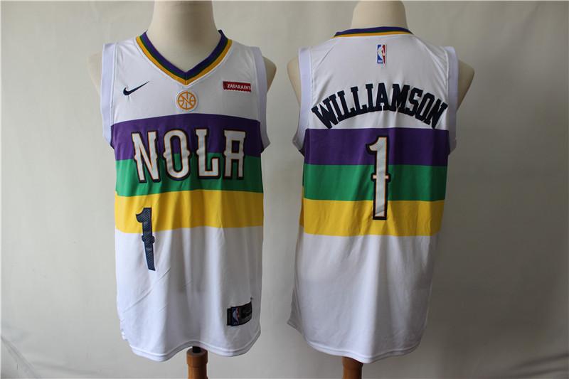 Pelicans 1 Zion Williamson White City Edition Nike Swingman Jersey